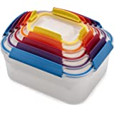 Joseph Joseph 81098 Nest Lock Plastic Food Storage Container Set with Lockable Airtight Leakproof Lids, Multicolored 10-Piece