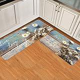 Prime Leader 2 Piece Non-Slip Kitchen Mat Runner Rug Set Doormat Daisy Live Love Laugh Door Mats Rubber Backing Carpet Indoor