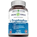 Amazing Nutrition L-Tryptophan Dietary Supplement - Natural Sleep Aid Supplements with 1000 mg of Free Form L Tryptophan - Fo