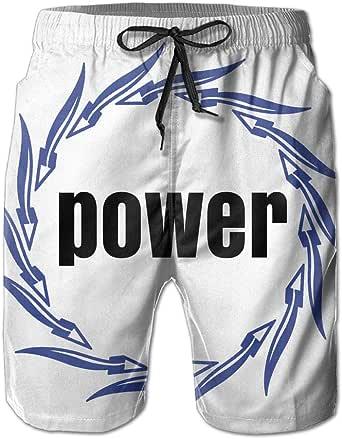 力 パワー アロー 円 デザイン メンズ 耐水 ビーチショーツ スイムウェア メッシュインナー付き White