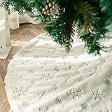 DegGod Plush Christmas Tree Skirts, Luxury Snowy White Faux Fur Xmas Tree Base Cover Mat with Sequin Snowflakes for Xmas New
