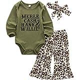 Asashitenel 3Pcs Newborn Baby Girl Long Sleeve Romper Jumpsuit + Leopard Long Pants+Headband Outfits Clothes