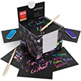 """ARTEZA Scratch Paper Notes, Set of 202 Sheets, 3.5""""X3.5"""" Inches 200 Rainbow Notes & 2 Space Patterned Notes, Include 2 Scratc"""