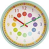 VIKMARI 知育時計 掛け時計 アナログ 静音 非電波 壁掛け時計 子供用 生徒用 時間学習 クロック 直径約30cm(グリーン)
