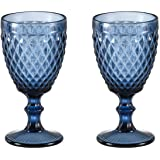 Wine glass, Colored Glass Goblet, 6oz/10oz Vintage Pattern Embossed High Clear Glass Goblets for Party, Wedding (Diamond/Blue