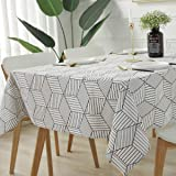 Rectangle/Oblong Tablecloth Geometric Style Cotton Linen Table Cloth Dust-Proof Table Cover Eco-Friendly & Safe Table Cloth f