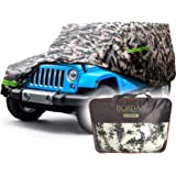 BORDAN Jeep Car Cover All Weather Protection Waterproof SUV Cover Fit for Jeep Wrangler 1987-2019 JK, JL, CJ, YJ, TJ 4 Doors