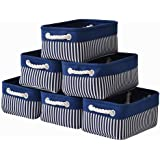 Canvas Storage Baskets[6-Pack] Small Fabric Storage Bins Toy Storage Baskets Empty Gift Baskets Shelf Baskets Decorative Stor