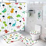 4Pcs Cartoon Dinosaurs Shower Curtain Set with Non-Slip Rugs Toilet Lid Cover and Bath Mat Colorful Cute Dinosaurs Bath Curta