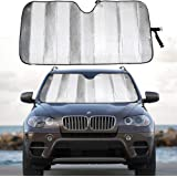 MCBUTY Windshield Sun Shade for Car Silver Thicken 5-Layer UV Reflector Auto Front Window Sunshade Visor Shield Cover and Kee