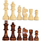 "ASNEY Wooden Chess Pieces, Tournament Staunton Wood Chessmen Pieces Only, 3.15"" King Figures Chess Game Pawns Figurine Pieces"