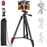 Neewer Tripod Kit, 54-Inch Travel Tripod with Remote, Carrying Bag and 2-in-1 Phone & Tablet Clamp, Compatible with Smartphon