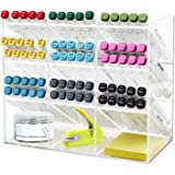 Clear Pen Organizer Storage for Desk, Multi-Functional Pen Holder Rack with 12 Compartments for Home, Office, Art Supplies