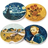Avamie Car Coasters 4 Pack, Car Cup Holder Coasters, Absorbent Ceramic Stone Coasters for Car, 2.56 inch, Decorative Van Gogh