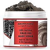 Aromasong 100% Pure Dead Sea Body Scrub, Dead Sea Mud with Dead Sea Salt Only, Natural Cream Exfoliant, Stretch Mark & Wrinkl