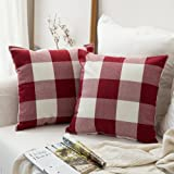 MIULEE Pack of 2, Classic Retro Checkers Plaids Cotton Linen Soft Soild Christmas Decorative Square Throw Pillow Covers Home