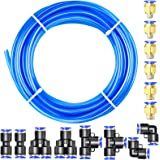 Tailonz Pneumatic Blue 6mm OD 4mm ID Polyurethane PU Air Hose Pipe Tube Kit 10 Meter 32.8ft
