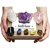 AtPerry's Bali Box - Healing Crystals Set - 8 Natural Chakra Crystals Tumbled & Raw Including Selenite, Amethyst, Lapiz Lazul