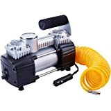 TIREWELL 12V Tyre Inflator - Heavy Duty Double Cylinders Direct Drive Metal Pump 150PSI, Air Compressor with Battery Clamp an