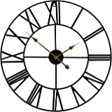 "Sorbus Wall Clock, 24"" Round Oversized Centurian Roman Numeral Style Home Décor Analog Metal Clock (Black)"
