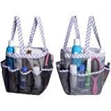 Attmu Portable Mesh Shower Caddy with 8 Storage Pockets, Quick Dry Waterproof Shower Tote Bag Oxford Hanging Toiletry and Bat