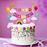 SOPHIE LENA Rainbow Cake Topper ,Happy Birthday Cake Flags,Cake Supplies Decorations Set With Colorful rainbow clouds balloon