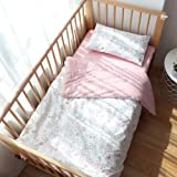 100% Cotton Crib Bedding Set for Toddler Boys Girls,3Pcs Include Duvet Cover,Fitted Sheet,Pillowcase, Baby Bed Linen,Nursery