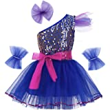 renvena Kids Girls Jazz Modern Ballet Dance Outfits One Shoulder Shiny Sequins Dress with Hairclip Wristband and Belt Set