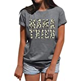 SFHFY Womens Mama Tried Leopard Letter Printed Tshirts Short Sleeve Casual T-Shirt Mom Life Graphic Tee Top