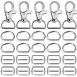 60 Pcs Metal Keychain Bulk Swivel Snap Hooks D Ring and Slide Buckle Triglide Silver