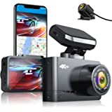 """AUTOWOEL 4K Dash Cam Front and Rear, Dual Dash Cam with WiFi and Built-in GPS, Car Camera Recorder with UHD 3840x2160P, 2.45"""""""