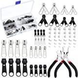Aneco Zipper Repair Kit Zipper Replacement Accessories Zipper Install Pliers Tool with Container Storage Silver and Black