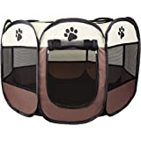 Cosy Life® Playpen Tent for Pets Dogs Puppies, 81x81x65 cm (Medium) - Brown