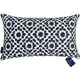 Aitliving Decorative Throw Pillow Covers 1 pc Cotton Canvas Trellis Embroidery Mina Lumbar Pillowcase Cushion Cover Slate Blu