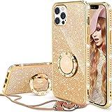 OCYCLONE iPhone 12 Pro ケース iPhone 12 ケース リング付き アイフォン12 リングケース iPhone12Pro カバー 人気 韓国 かわいい おしゃれ キラキラ 豪華なラインストーン ダイヤモンド ストラップ付き