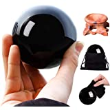 HOMELEX Black Magic Obsidian Crystal Ball with Wooden Stand for Meditation, Crystal Healing, Divination Sphere, Home Decorati