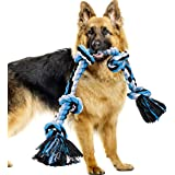 BMAG Dog Rope Toys for Aggressive Chewers, Heavy Duty Dog Toys for Medium Large Dogs, Tough Twisted Rope Toy with 5 Knots