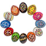 BestPysanky Set of 12 Ukrainian Wooden Easter Eggs Pysanky 1.5 Inches