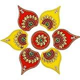ARTISENIA Diwali Rangoli Indian 5 Pieces Yellow & Red Modak Rangoli Floor Table Decoration Studded Stones Sequins Festive Hom