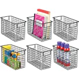 mDesign Metal Wire Storage Basket Bin with Handles for Home Office, Filing Cabinets, Shelves - Organizer for School Supplies,