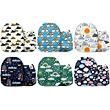 Mama Koala One Size Baby Washable Reusable Pocket Cloth Nappies, 6 Pack with 6 One Size Microfiber Inserts (Weather Tag)
