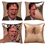 Mermaid Throw Pillow Cover Magic Reversible Sequin Cushion Cover Decorative Pillowcase That Change Color (L The Office-Gold S