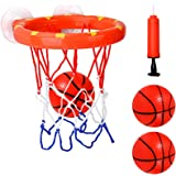 Cyfie Bath Toy Basketball Hoop & Balls Set, Bathtub Office Balls Playset with 3 Hard Balls for Boys Girls Kids Toddlers Bathr