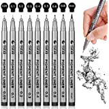 Black Micro-Pen Fineliner Ink Pens - Waterproof Archival Ink Illustration Pens, Drawing Pens, Precision Micro-Line Pens for S