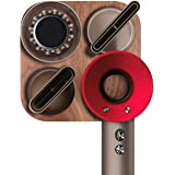 JUBECO Wood Wall Mount Holder for Dyson Hair Dryer,Wood+Metal Wall Bracket Frame for Dyson Supersonic Hair Dryer