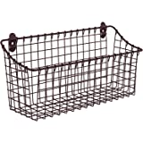 "Spectrum Diversified Vintage Wall Mount Storage Basket, 15"" x 5"" x 7"", Bronze"