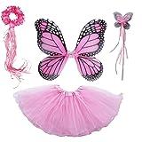 4 PC Girls Fairy Princess Costume Set with Wings Tutu Wand & Halo (Light Pink)