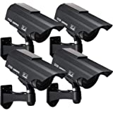 Solar Powered Fake Security Camera, Bullet Dummy Surveillance System with Realistic Red Flashing Lights and Warning Sticker I