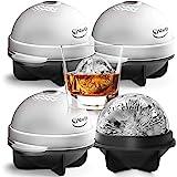Unique Ice Ball Maker Sphere Mold - 4 Pack - Round Ice Cube Mold - Make Large 2.5-inch Ice Cube Balls for Whiskey - Lightweig