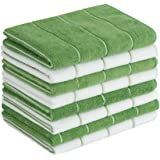 Microfiber Kitchen Towels - Super Absorbent, Soft and Solid Color Dish Towels, 8 Pack (Stripe Designed Green and White Colors